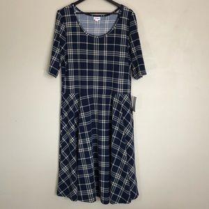 LuLaRoe Nicole Blue Plaid Dress w Pockets. NWT